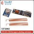433 MHz ASK módulo receptor Inalámbrico tranmitter kit (1 unids transmisor receptor STX882 + 1 unid SRX882 + 2 unids primavera antena)