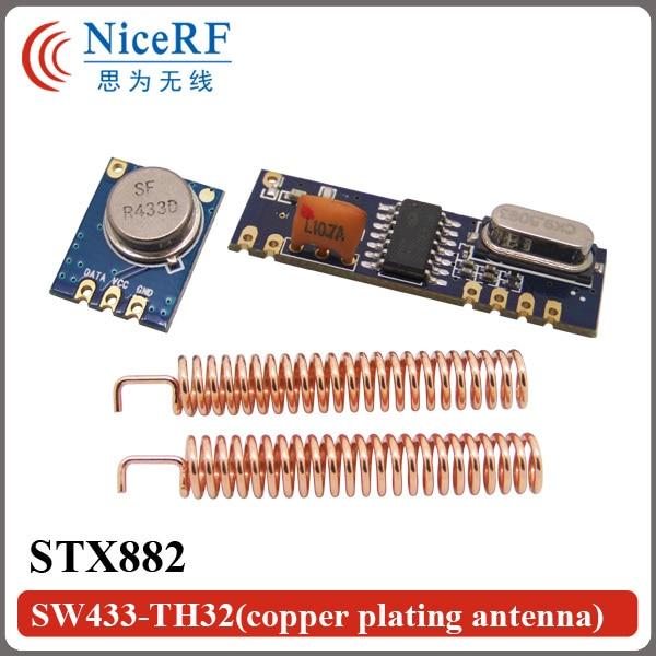 433MHz ASK Wireless Tranmitter Receiver Module Kit (1pcs Transmitter STX882+1pc Receiver SRX882+2pcs Spring Antenna)