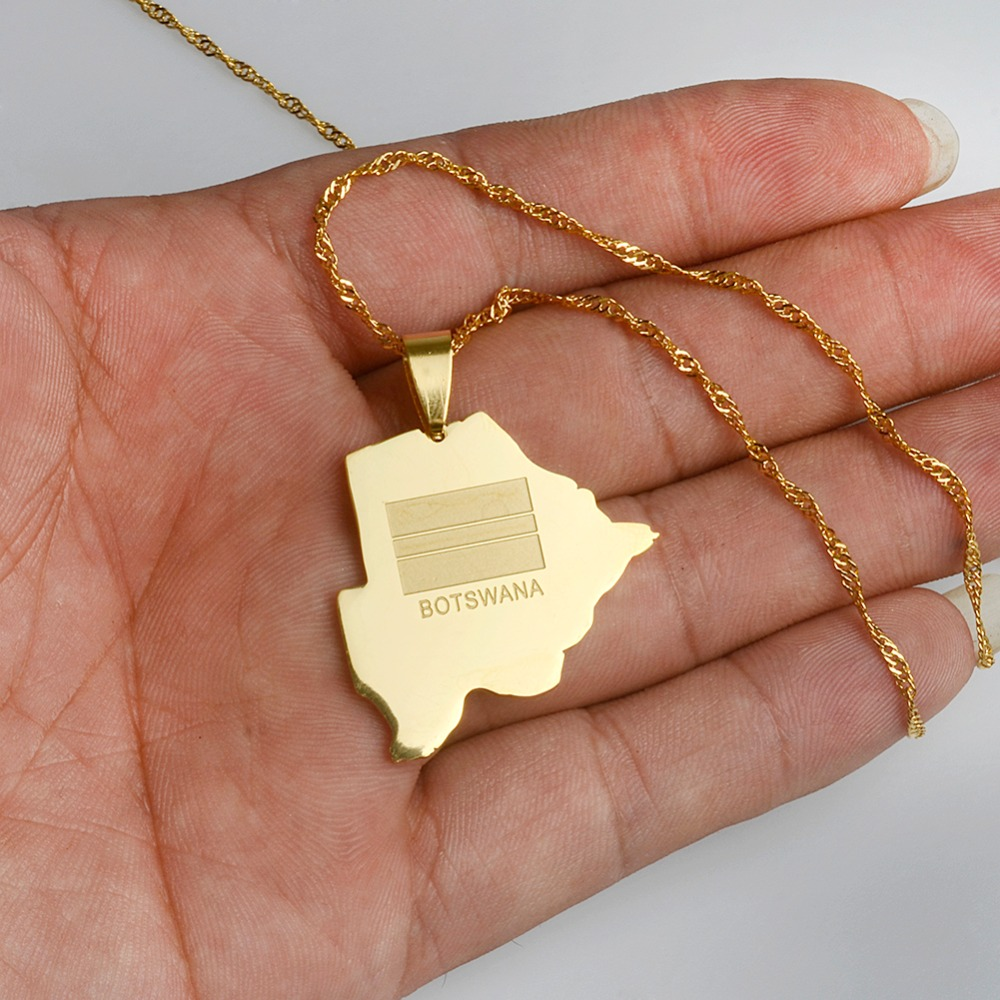 Botswana map pendant necklace wave style 18 chain 323 ebay anniyoc matt gold color botswana country map flag pendant necklaces charm maps jewelry patriotic gifts aloadofball Image collections