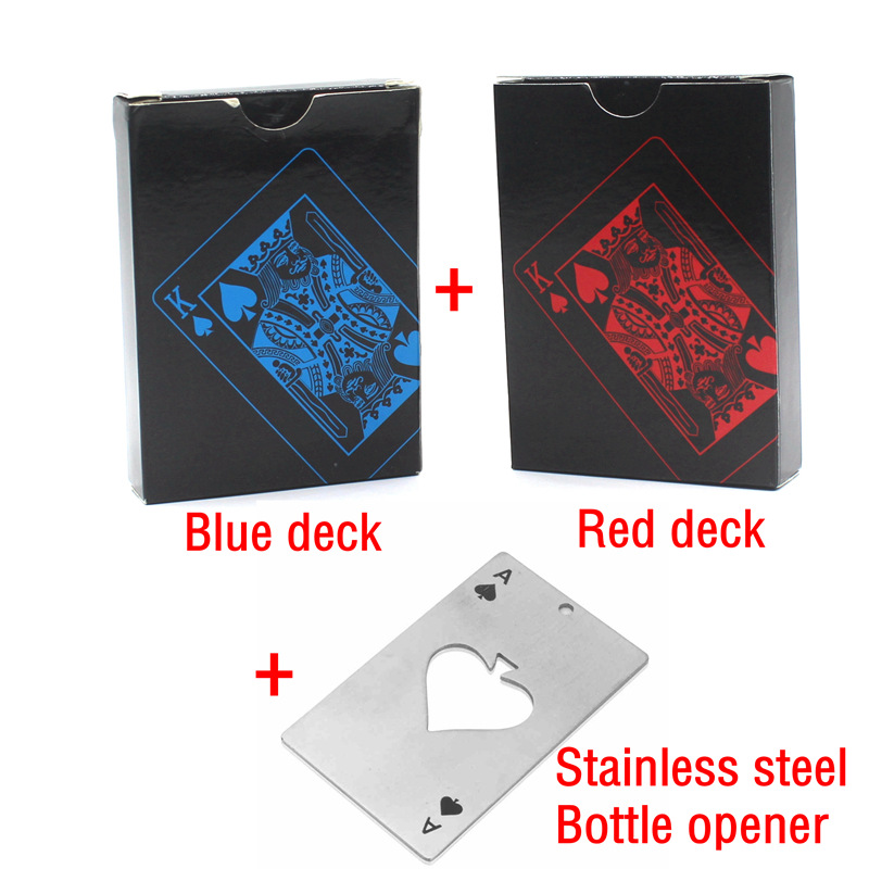 1 x Blue Deck+1 x Red Deck + 1 x Bottle Opener Quality Plastic PVC Poker Waterproof Playing Cards Creative Gift Durable Poker