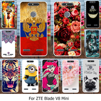 Caynes Silicone Cover Case For ZTE Blade V8 Mini ZTE V8 Mini 5.0 INCH Case TPU   Mobile     Phone   Cover Flowers Rose Cats   Housing