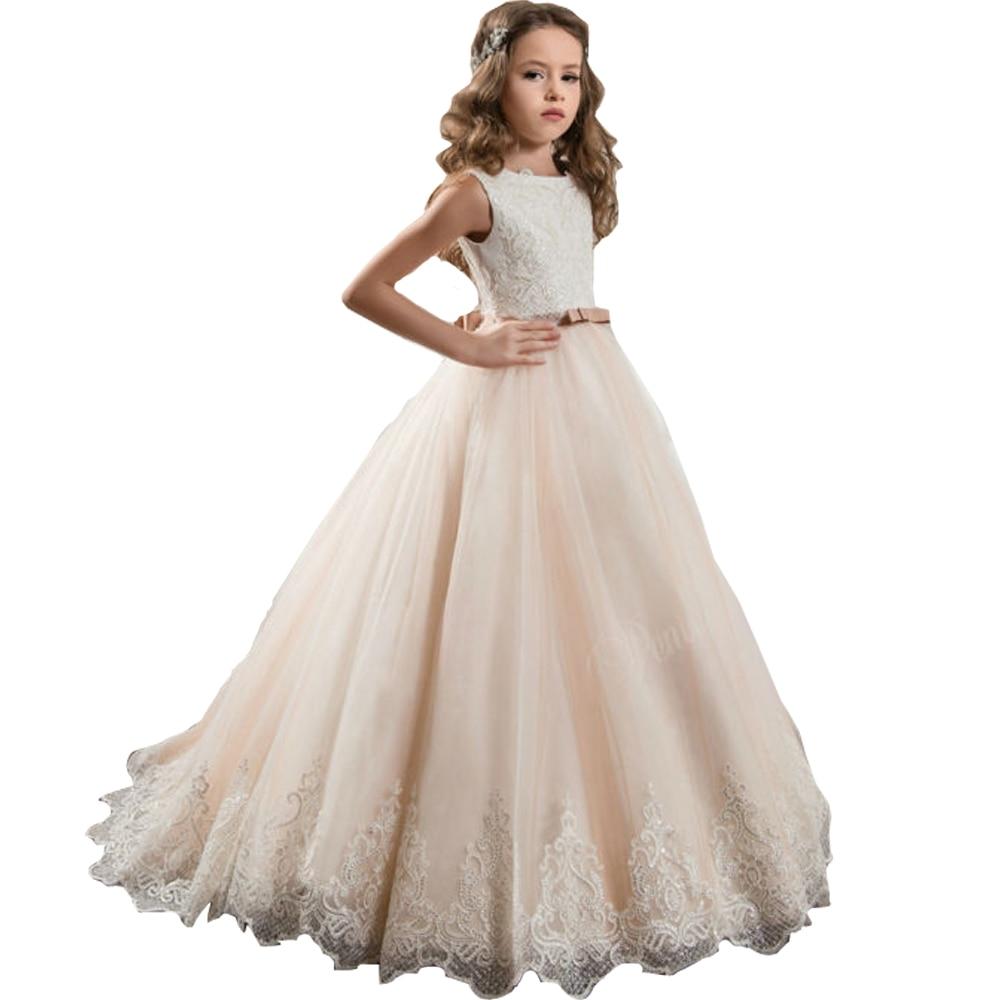 2018 Sleeveless New First Communion Dresses O-Neck Appliques Sleeveless Ball Gown Court Train Flower Girl Dresses for Weddings