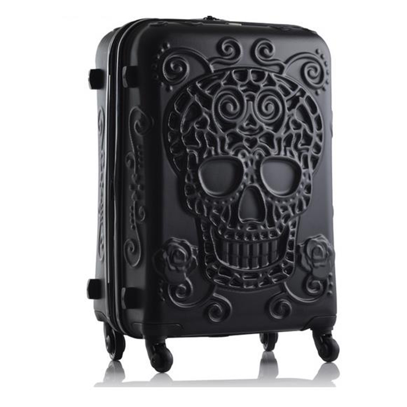 LeTrend Creative 3D Skull Rolling Luggage Spinner 28inch Suitcase Wheels 20 inch Black Carry on Trolley