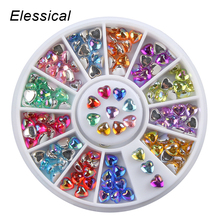 Беззеркальные цветные акриловые Стразы AB дизайн в виде сердца колесо для ногтей День Святого Валентина Маникюр 3D украшения для ногтей
