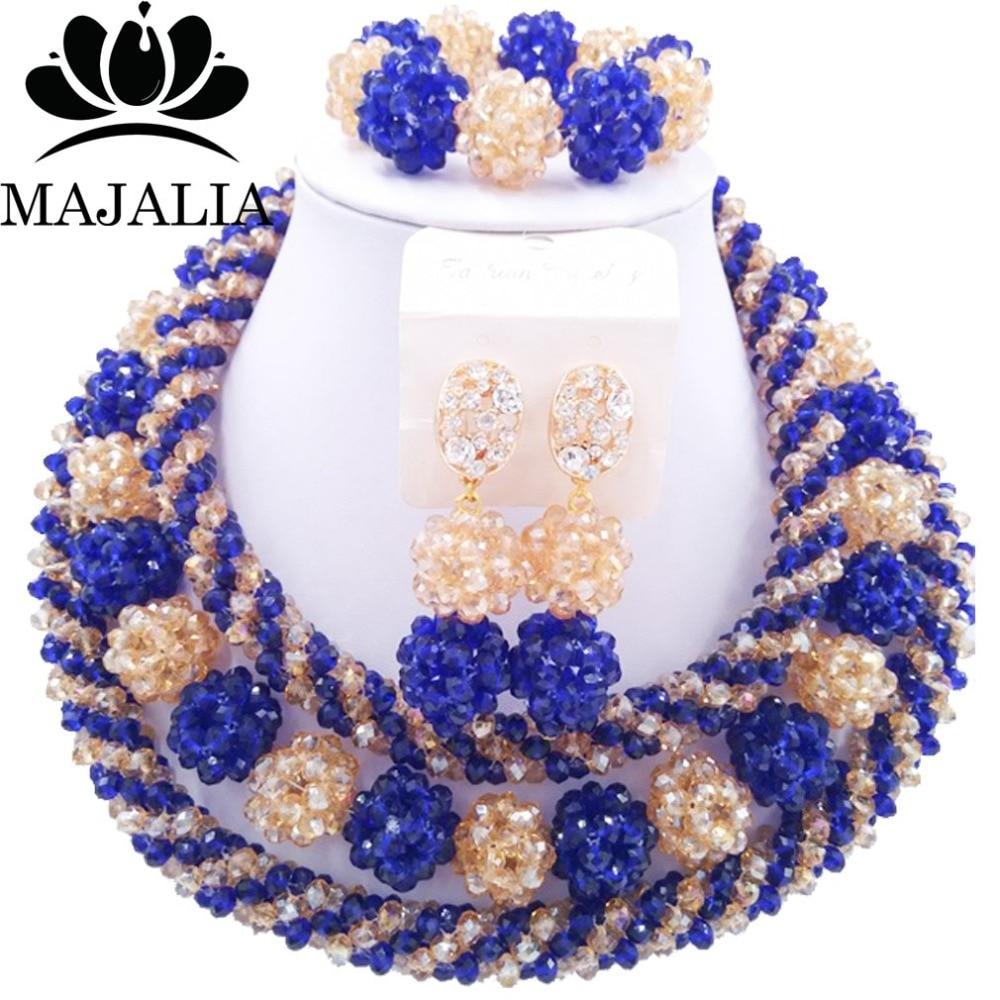 Модные Африканские свадебные бисер синий нигерийские Свадебные африканские бусы комплект ювелирных изделий Кристалл Бесплатная доставка