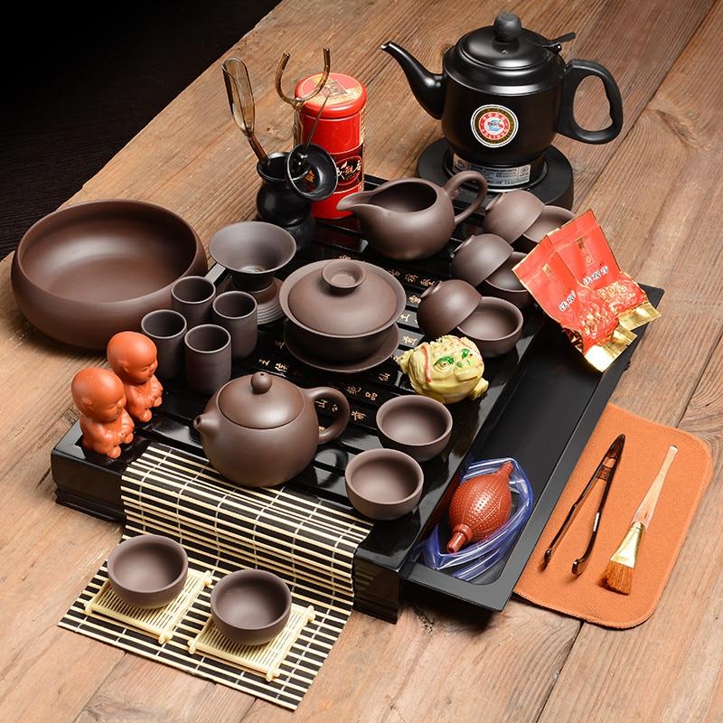 Chinois kung fu thé ensembles, plateau de thé en bois entier chine thé cérémonie salon table Kung Fu thé accessoires livraison gratuite
