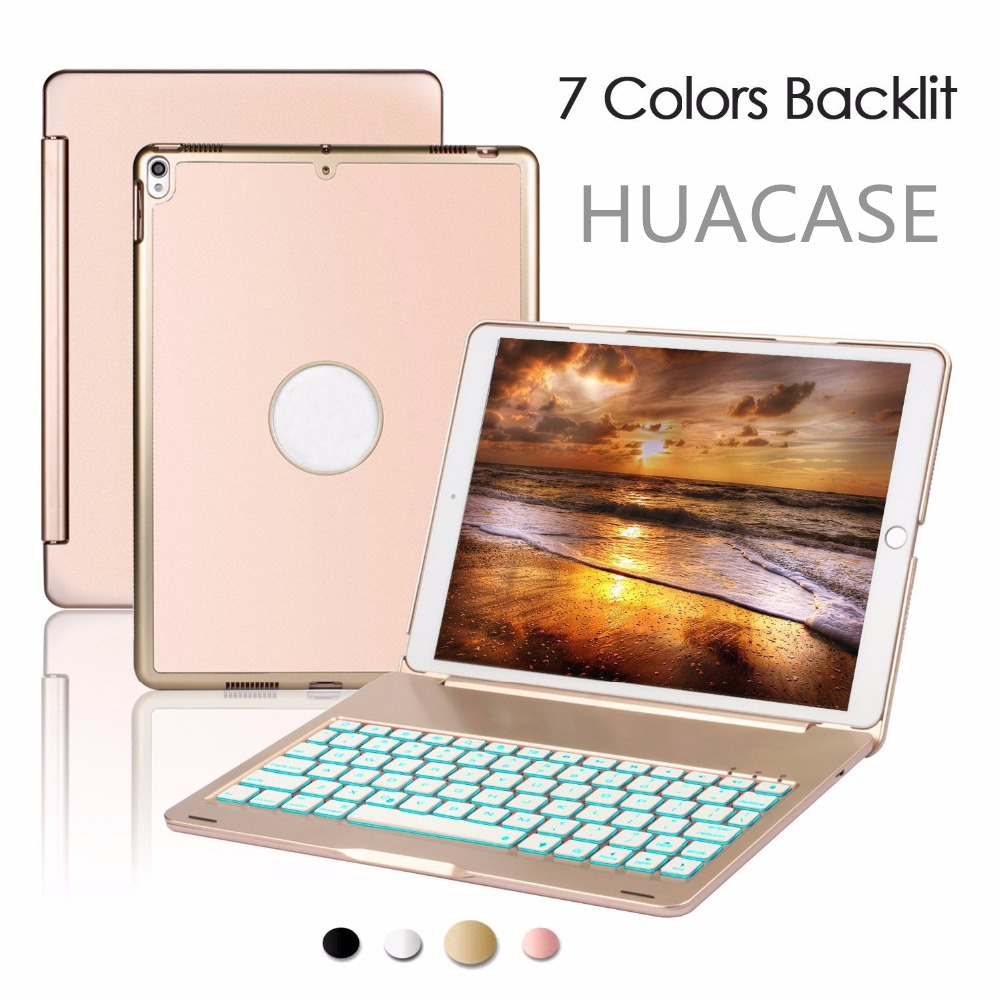 For New iPad mini 4 Keyboard Case 7 Colorful Backlit Aluminum [Built in Stand] Bluetooth Keyboard Case for New iPad 7.9