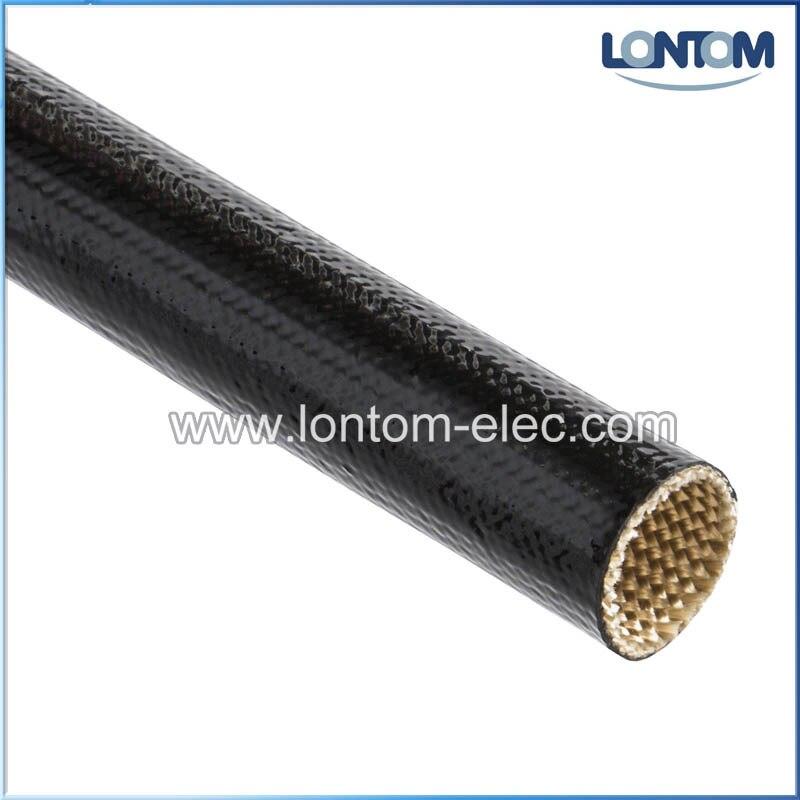 100 mètres 10.0mm 2500 V ignifuge Silicone enduit de fibre de verre gainer Grade A & C noir