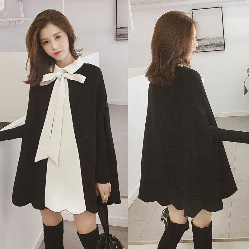 Women Capes 2018 Autumn Fashion Female 4XL Plus Size Coat Outwear Cute Bow Tie Retro Loose Cloak Vintage Elagant Ponchos Cloaks