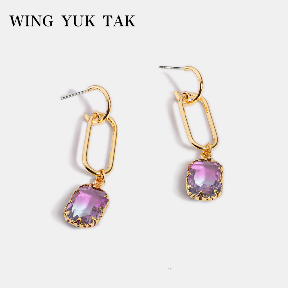 wing yuk tak Glass Crystal Drop Earrings for Women Simple Gold Korean
