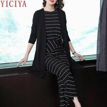 Striped Winter Black 3 piece suit women tracksuits 2 set outfits co-ord pants suits and top plus size autumn clothes