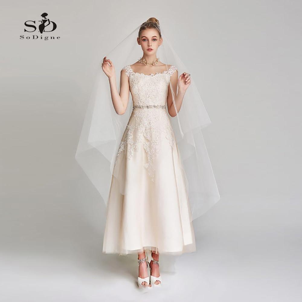 Short Wedding Dress Bridal Gowns 2018 Lace Appliques  Simple Short Wedding Dress For Party Ankle-length SoDigne A-line