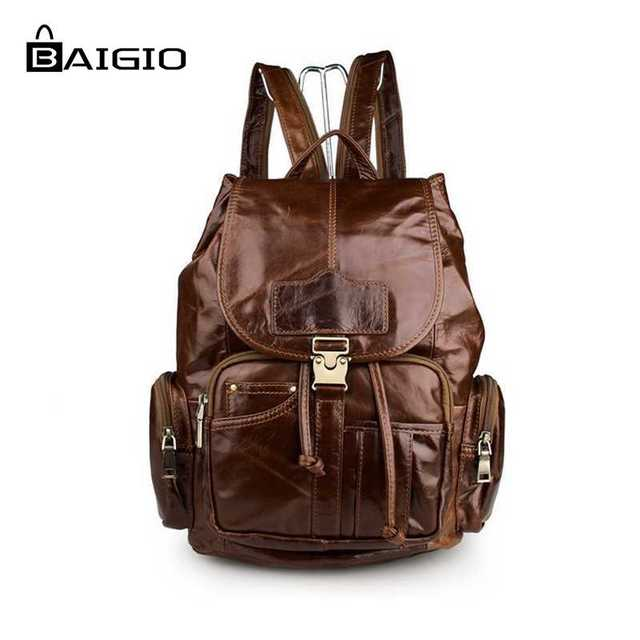 Aliexpress.com : Buy Baigio 2017 Men Vintage Leather Backpack ...