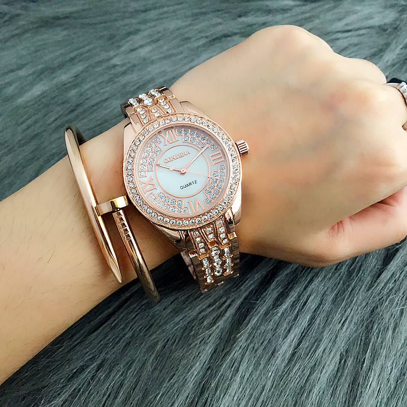 CONTENA Luxury Brand Watch Women Watches Rose Gold Women's Watches Rhinestone Ladies Watch Clock montre femme relogio feminino sinobi ceramic watch women watches luxury women s watches week date ladies watch clock montre femme relogio feminino reloj mujer