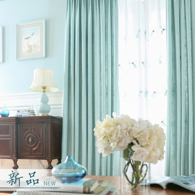 Living Room Curtains Tulle Linen Blue Window Panels Purple Plain Blind Fabric Bedroom Embroidery Sheer Coffee