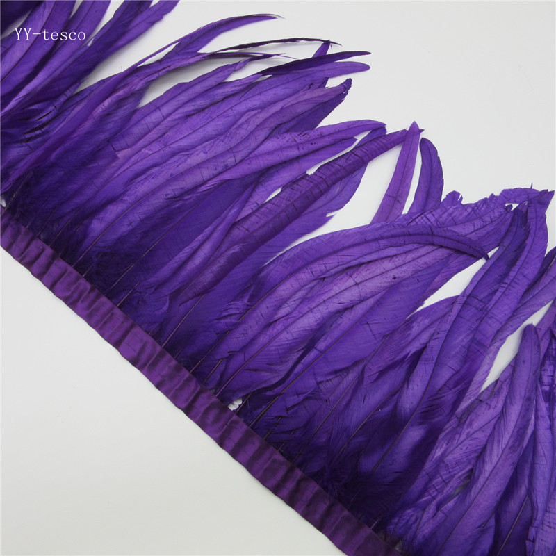 10 yards purple Rooster Feathers Trim 35 40cm Chicken Feather Ribbon For Wedding Party Decoration DIY Clothes Accessories