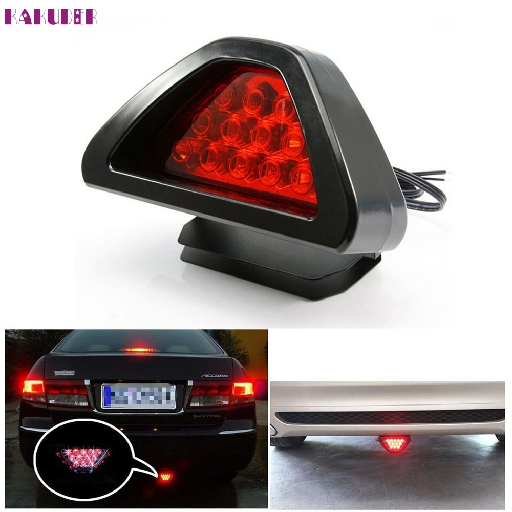 2017 NEW HOT Universal F1 Style 12 LED Red Rear Tail Third Brake Stop Safety Lamp Light Car July 12 DROPSHIP new universal motorcycle 12 led lamp stop break rear tail red car light lamp fenders