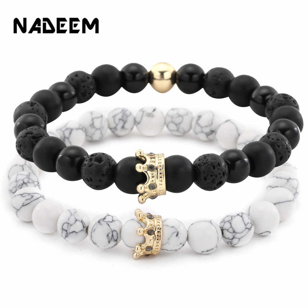 2Pcs/Sets Micro Pave CZ Crown Charm Bracelets Set For Women Men's Lava Howlite Stone Beadc Couple Bracelet Bangles Sets Pulseira