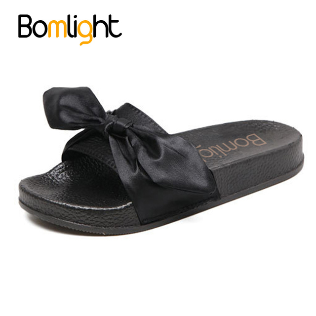 cdaeb27f5050 Bomlight PU leather Bow Slides Women Bling Beach Shoes Women Sandals Ladies  Bow Slippers Flat Heels Flip Flops Barefoot Slippers