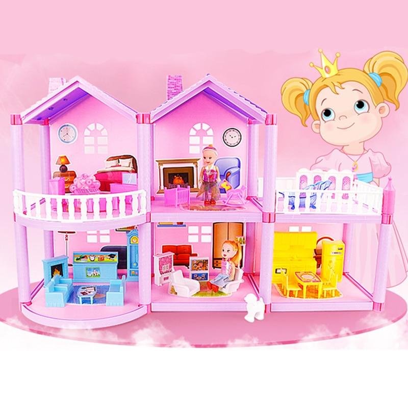 Children Handmade Dollhouse Castle DIY House Toys Miniature Doll house Birthday Gifts Villa Girl