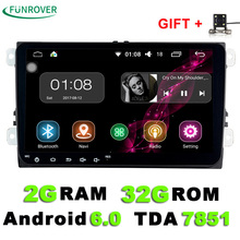 9 inch Android 6.0 Car DVD Player 2din Radio  Gps Stereo Multimedia PC 2G+32G in dash for vw Skoda tiguan passat cc golf touran