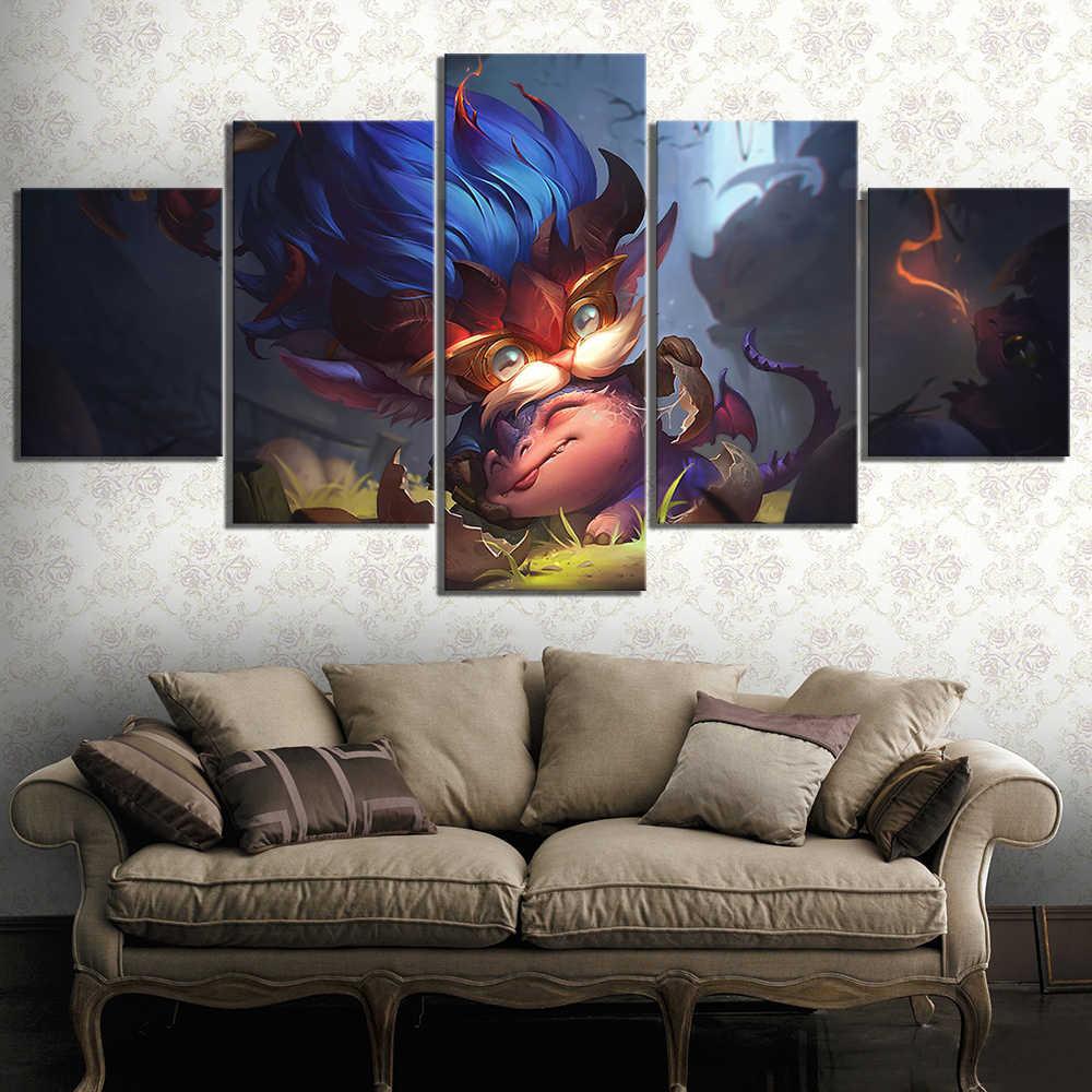 5 шт. цифровой книги по искусству картины Heimerdinger LOL Лига Легенды игровой постер стены стикеры холст картины стены