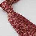 Laços dos homens 100% de Seda Pura Gravata Burgundy Red Com Ouro/Verde Floral Microfibra Gravata Gravata Do Pescoço Formal Dos Homens Camisa de vestido de Casamento