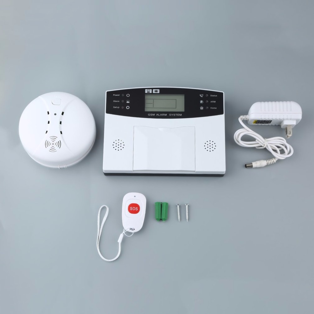 Hot sale GSM-LCD Wireless 433 Smart Burglar Security Alarm System Detector Sensor Kit Remote Control Auto Dial SMS Outdoor Siren g2bx intercom wireless gsm sms securtiy alarm system touch lcd sensors built in speaker without antenna wireless outdoor siren