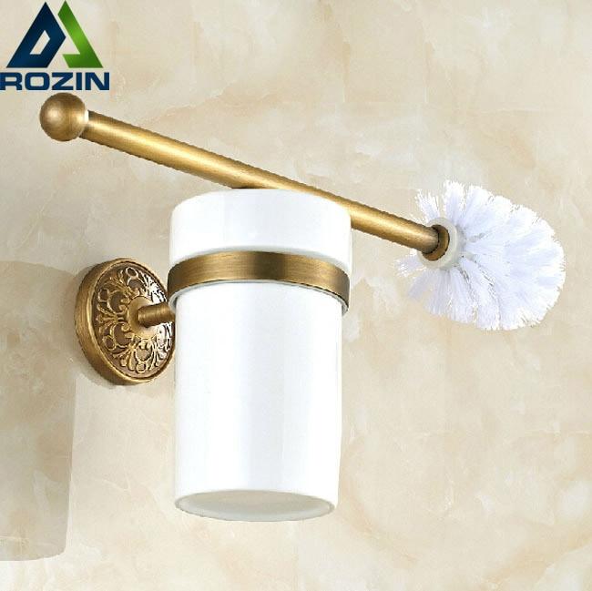 ФОТО Artistic Bathroom Toilet Brush Holder & Brush Antique Brass Bracket Wall Mount Ceramic Cup