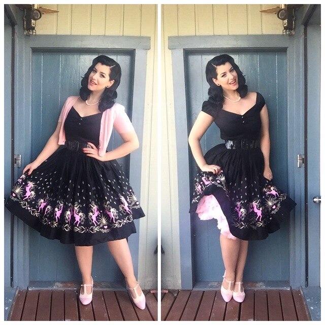 a809153f453 35- women vintage 50s dancing horse swing midi jenny skirt plus size 4xl  rockabilly pinup