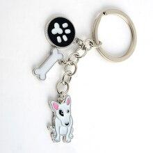 Pit Bull Terrier pendant key chains for women men white gold color metal alloy pet dog bag charm car keychain key ring holder