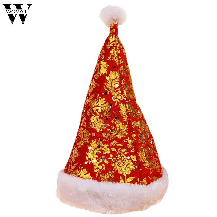 2017 Hat New Christmas Holiday Floral Print Xmas Cap For Santa Claus Gift Nonwoven Cap oc13