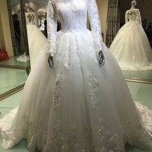 Fsuzwel Long Sleeve Wedding Dresses 2019 Brush Train Gown