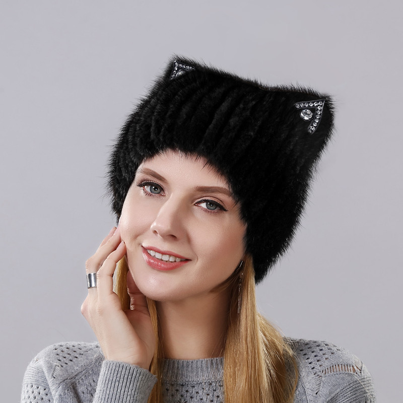 Winter Mink fur Cute cat ears Square cap With Sequins Warm Winter For Women Real Natural