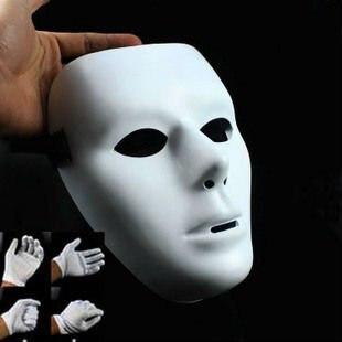 man in white mask