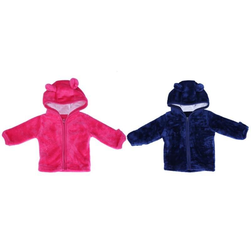 Детские Обувь для девочек Обувь для мальчиков теплая флисовая куртка с длинными рукавами с капюшоном с ушками однотонная верхняя одежда дл...