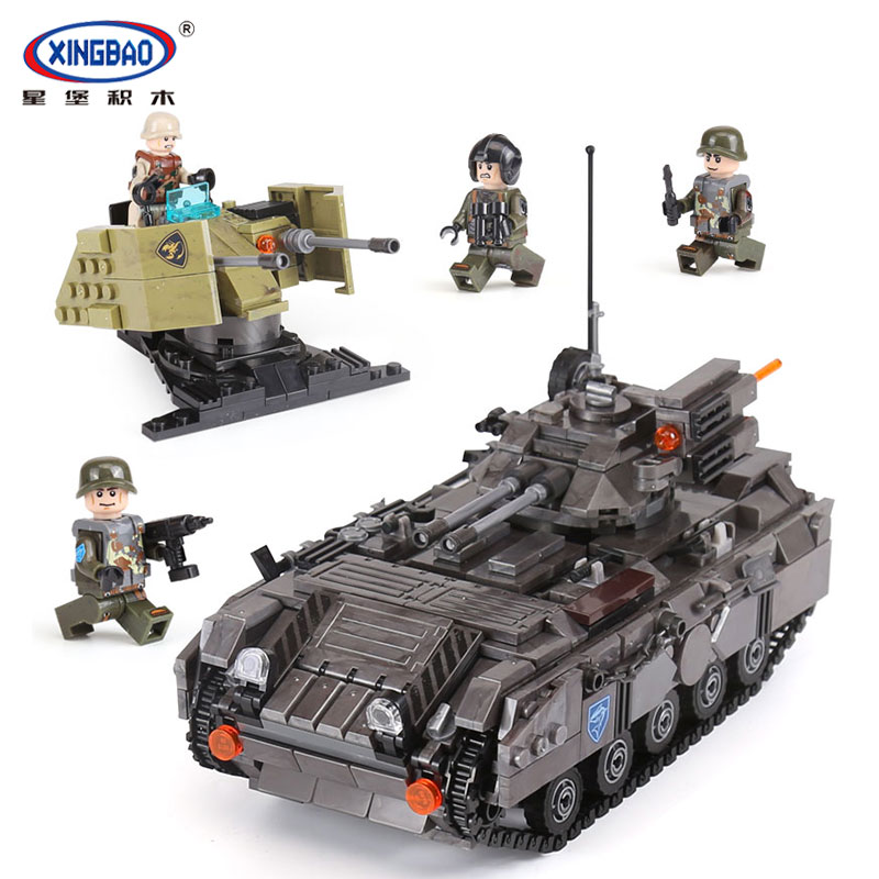 XINGBAO 06018 Genuine Military Series The Armoured Vehicle Set Building Blocks Bricks legoing Educational Toys As Children Gifts xingbao 06009 military series the extreme snowmobiling sets legoinglys building nano blocks bricks toys for children kids