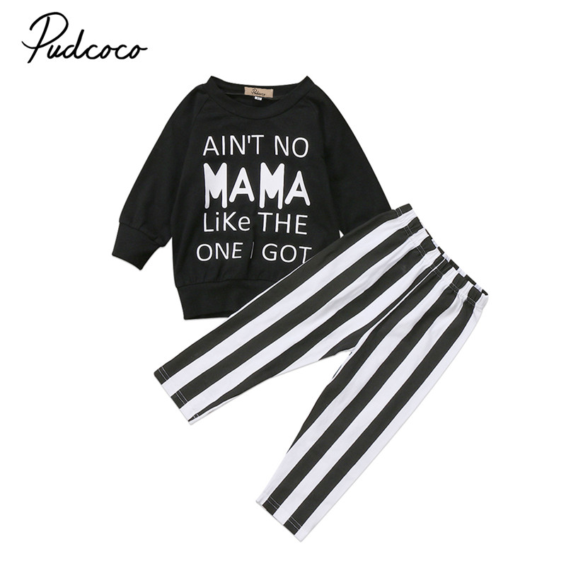Pudcoco Toddle Kids Baby Girls Tops Striped Pants Leggings Clothes Outfits Set