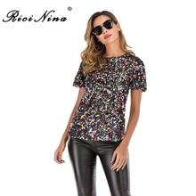 RICININA Sequin T Shirt Women 2019 Short Sleeve O Neck T-shirt Femme Imprim Casual Top Party Sexy Tee Autumn