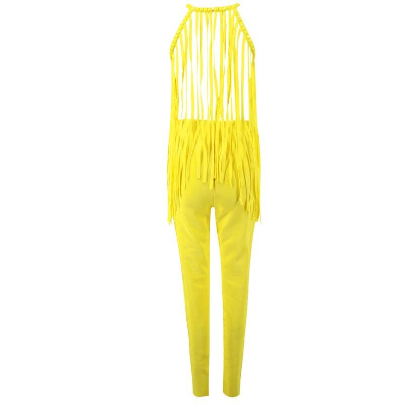 Designer Manches Nouvelle Longue Piste 2018 Bébé Perles Leger Frange Halter Bandage Moulante Sans Gland Femmes Combinaisons Mode Jaune zpqI48n