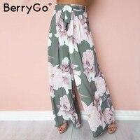 BerryGo Sash Loose Print Wide Leg Pants Women Elastic Floral Boho Casual Pants Female 2018 Summer