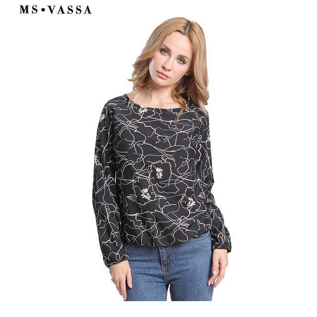 Black floral O-neck shirts long sleeve loose printed tops  1