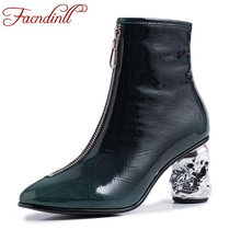 FACNDINLL brand 2019 new fashion women autumn winter ankle boots ladies black green high heels round toe riding boots big size недорого