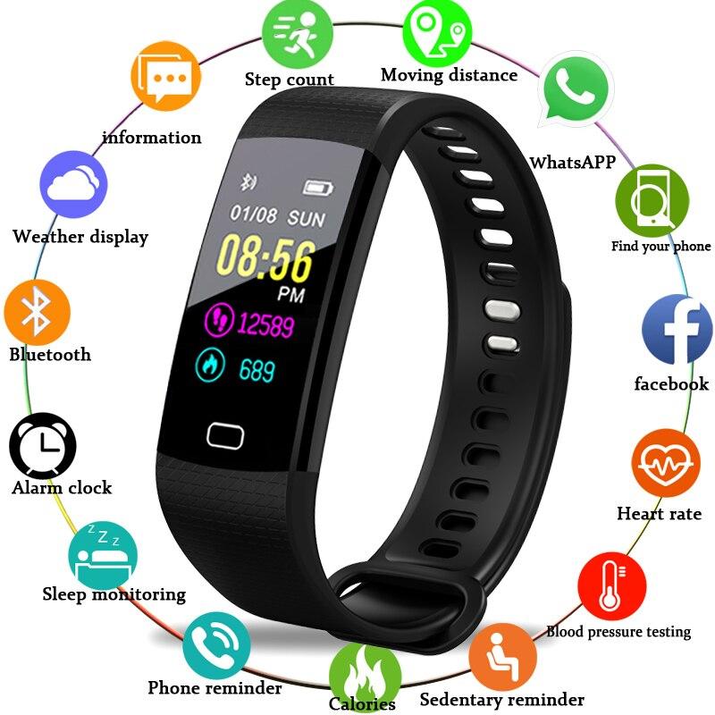2018 Nouveaux Hommes Et Femmes Sport Intelligent Bracelet Fitness Tracker Podomètre OLED Couleur Tactile Écran Smart Bracelet PK mi bande 3 + boîte
