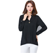 Chiffon Blouses New 2017 Autumn Women Black Female eShirt  V-Neck Long Sleeved Chiffon Shirt 4 color plus Size M-5XL Hot sale