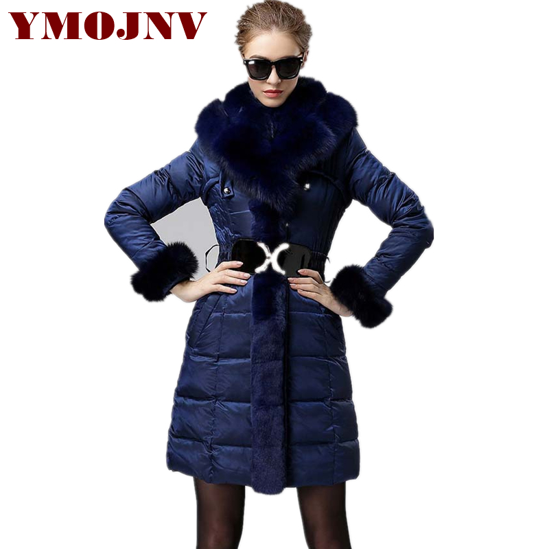Fashion Luxury White Duck Down Jacket Women Winter Parka Medium Long Warm Snow Wear Hooded Thick Real Big Fox Fur Collar Coat цены онлайн