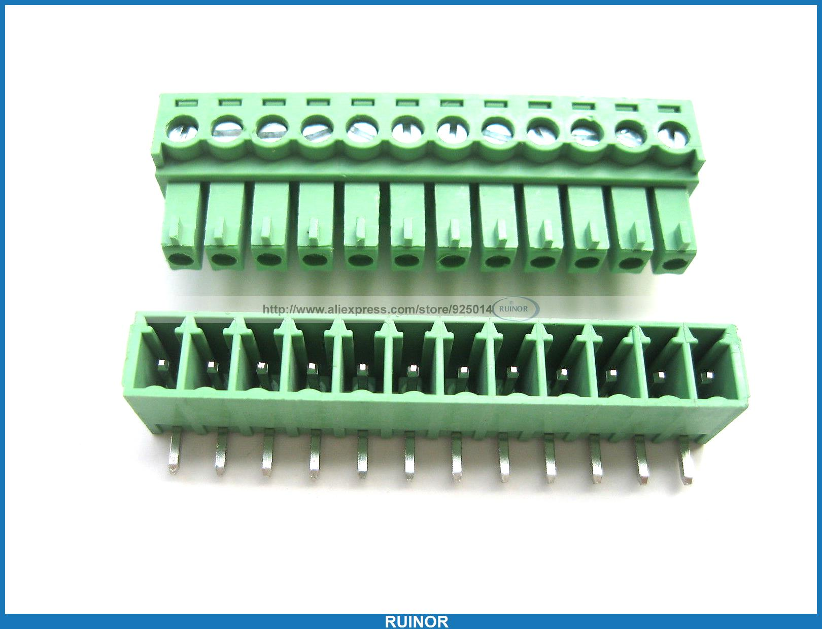 ФОТО 30 Pcs Screw Terminal Block Connector 3.5mm Angle 12 Pin Green Pluggable Type