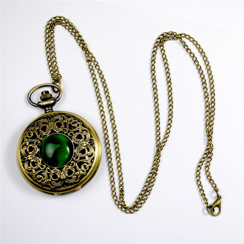 Fashion Quartz Pocket Watch Big Hollow Emerald Stone Vintage Necklace Pendant Fob Watches Clock Chain For Men Women Gifts
