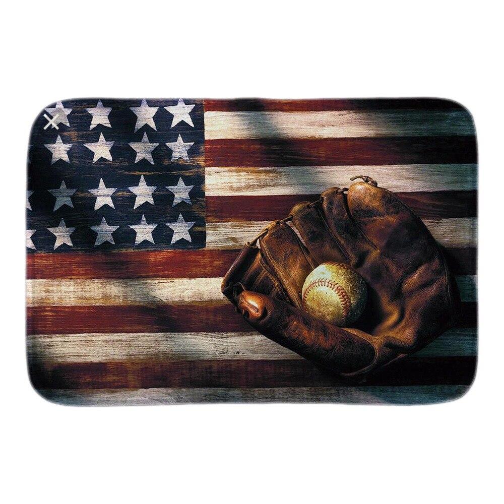 Happy 4th Of July Baseball Fans Doormat Usa Flag Decor Soft Lightness Home Decor Indoor Outdoor