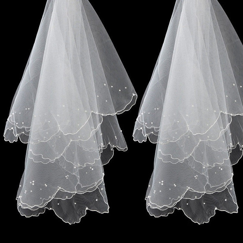 Simple And Elegent Wedding Bridal Veil Tulle White Ivory Two Layers Bride Accessories Short Women Veils With Comb
